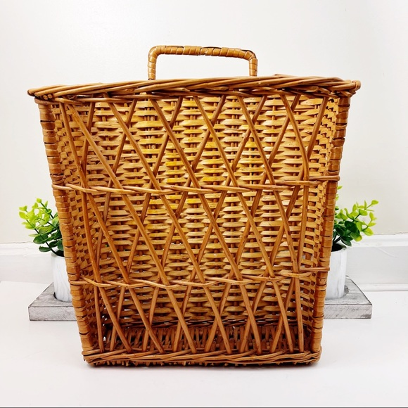 Vintage Rattan Woven Wicker Hanging Basket